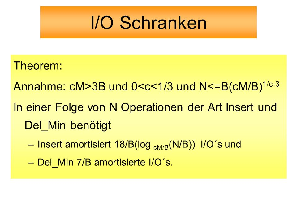 I/O Schranken Theorem: