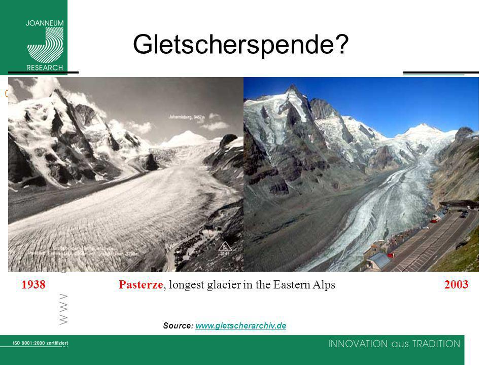 Gletscherspende. 1938 Pasterze, longest glacier in the Eastern Alps 2003.