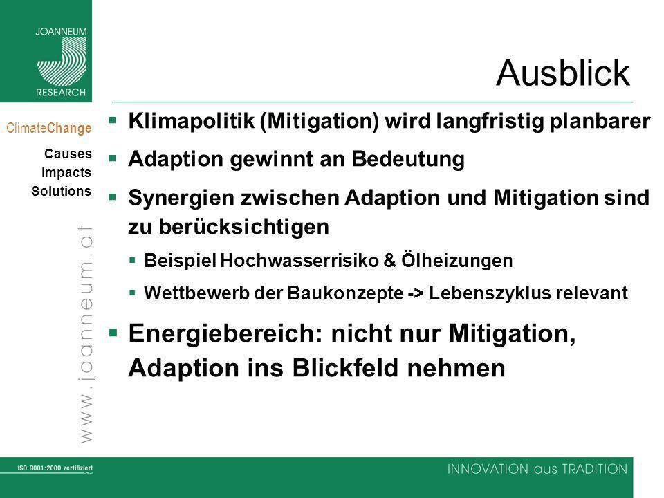 Ausblick Klimapolitik (Mitigation) wird langfristig planbarer. Adaption gewinnt an Bedeutung.