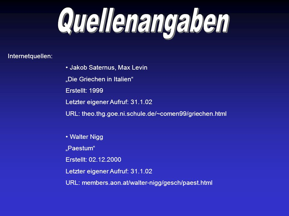 Quellenangaben Internetquellen: Jakob Saternus, Max Levin