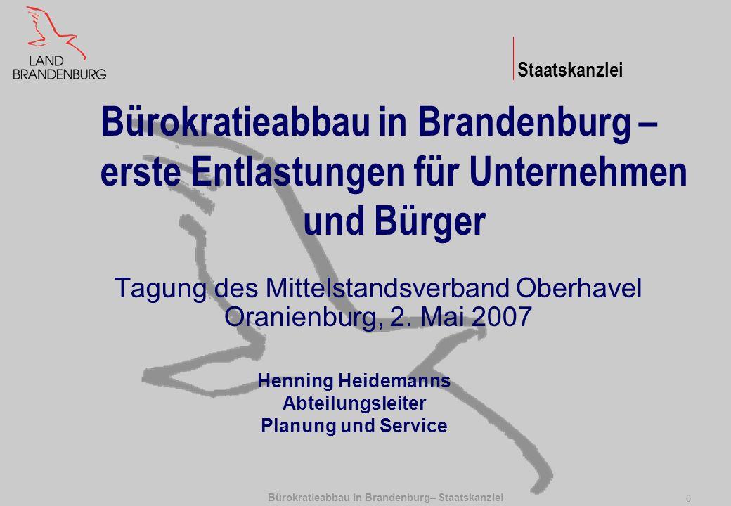 Bürokratieabbau in Brandenburg– Staatskanzlei