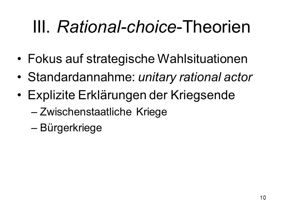III. Rational-choice-Theorien