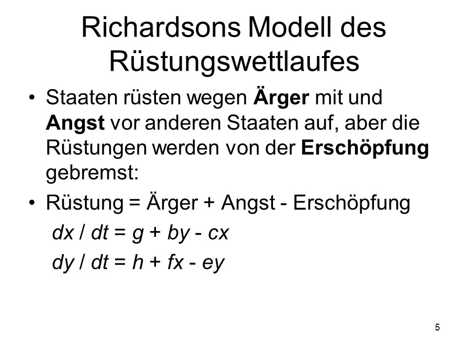 Richardsons Modell des Rüstungswettlaufes