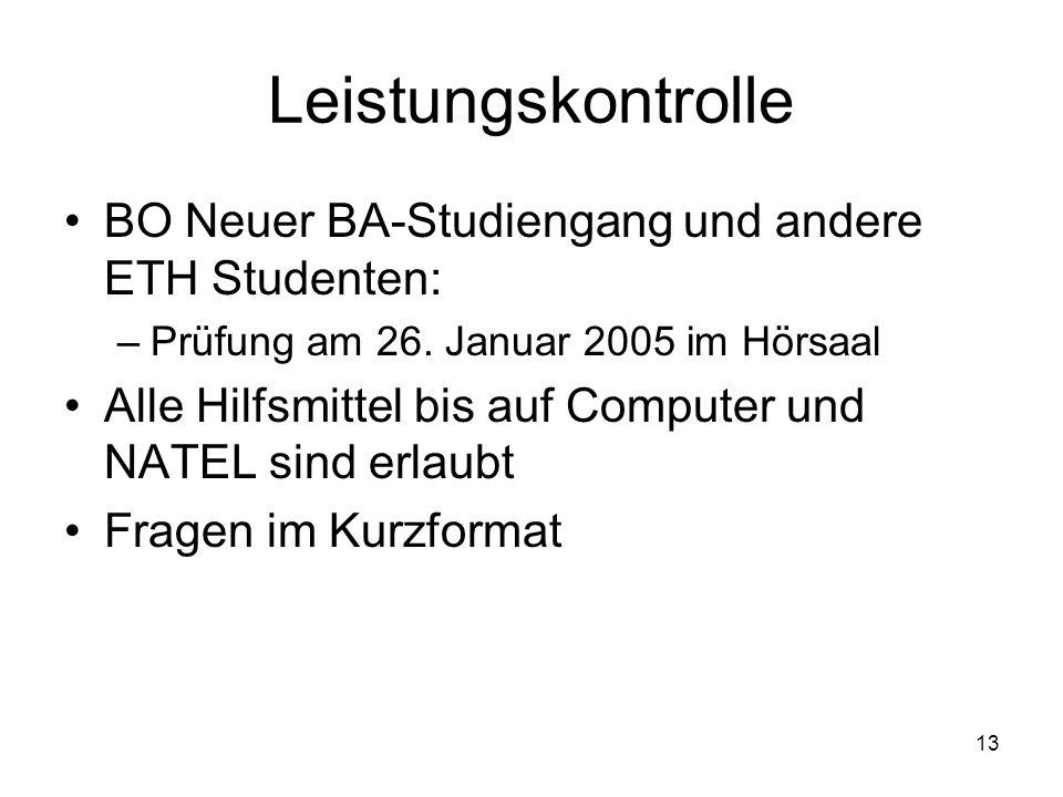 Leistungskontrolle BO Neuer BA-Studiengang und andere ETH Studenten: