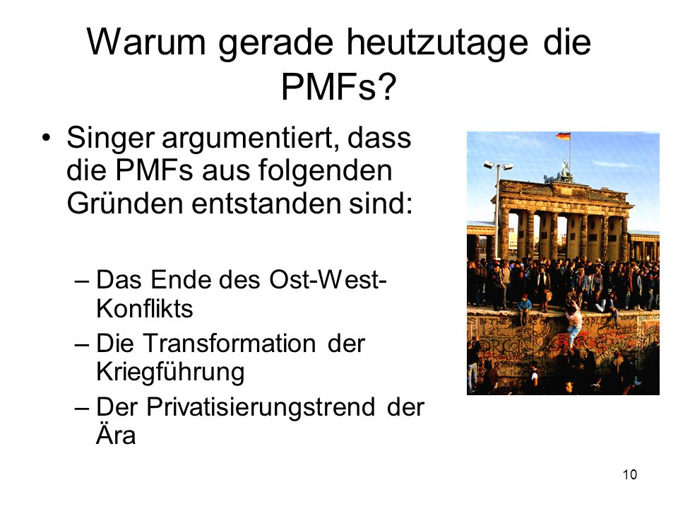 Warum gerade heutzutage die PMFs