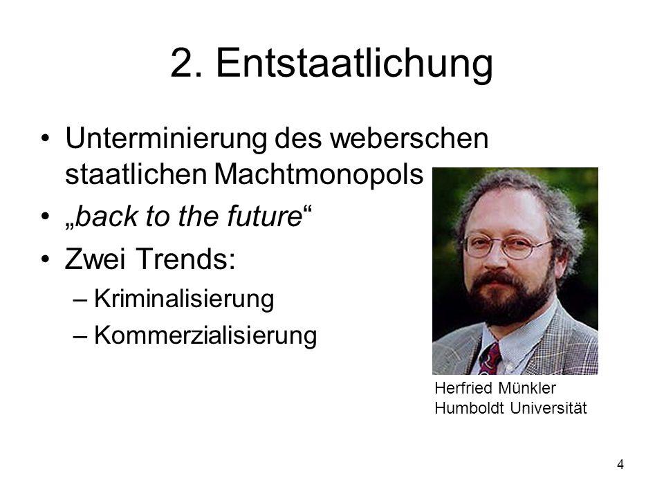 """2. Entstaatlichung Unterminierung des weberschen staatlichen Machtmonopols. """"back to the future Zwei Trends:"""