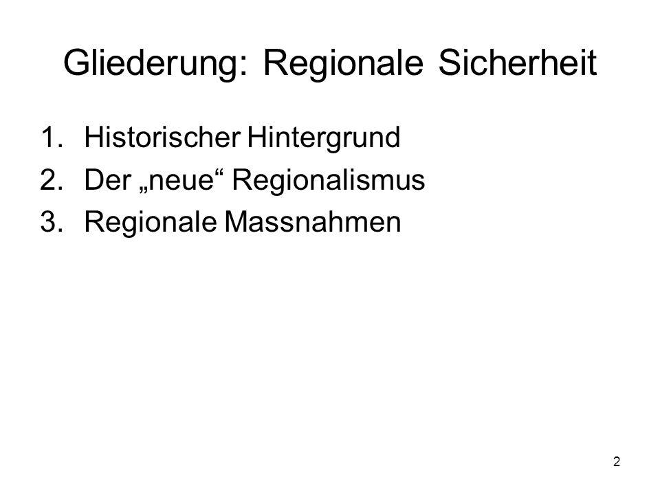 Gliederung: Regionale Sicherheit