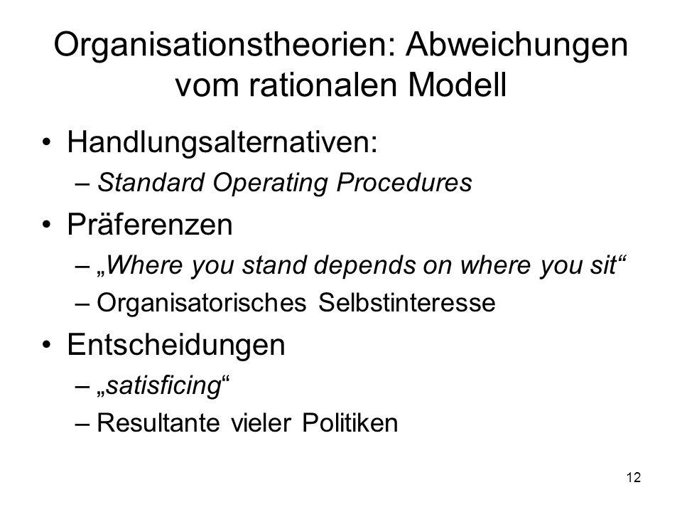 Organisationstheorien: Abweichungen vom rationalen Modell