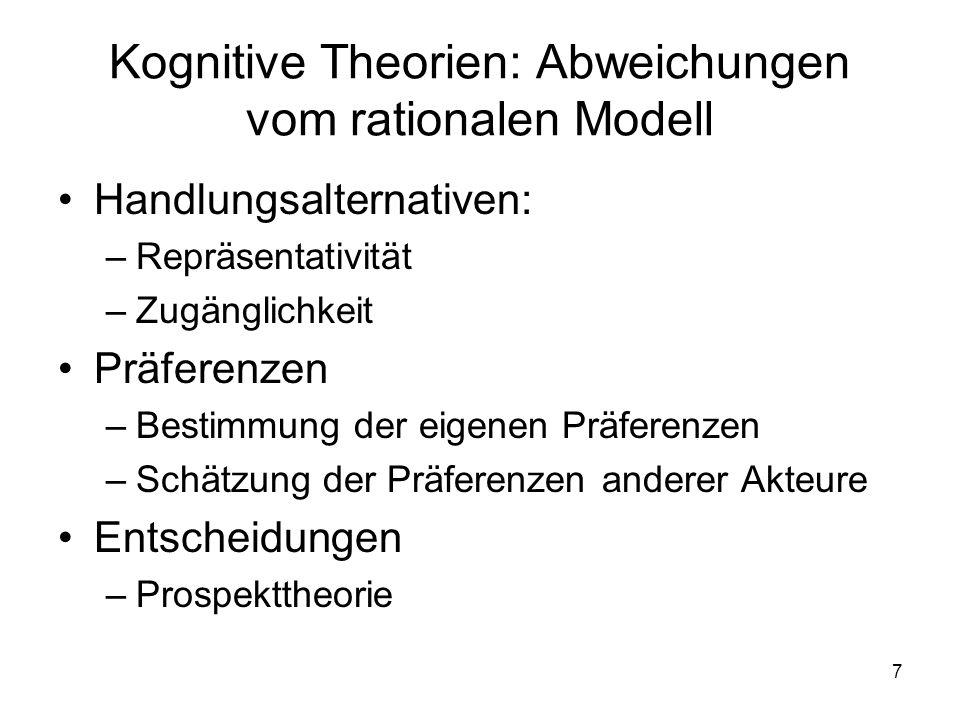 Kognitive Theorien: Abweichungen vom rationalen Modell