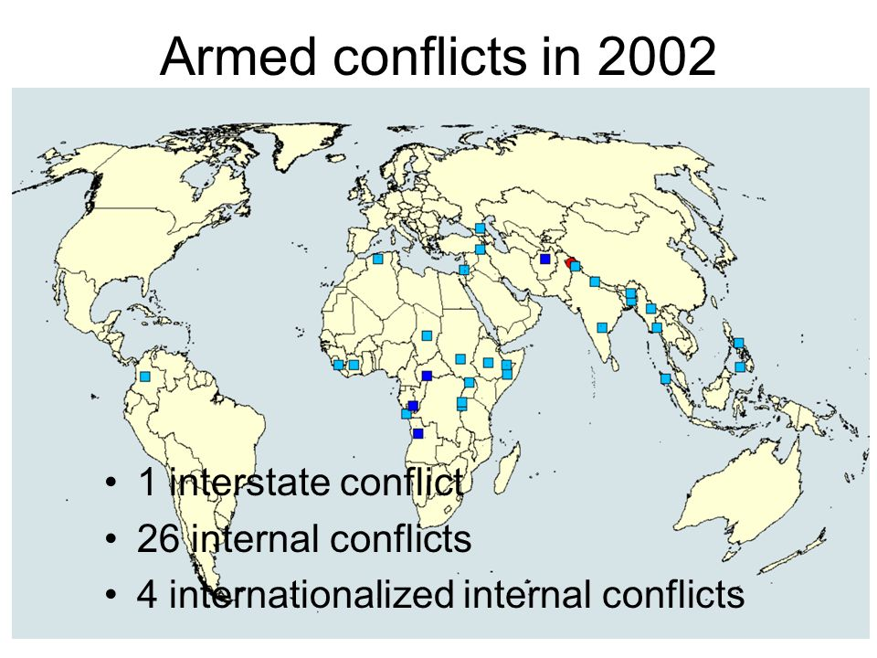 Armed conflicts in 2002 1 interstate conflict 26 internal conflicts