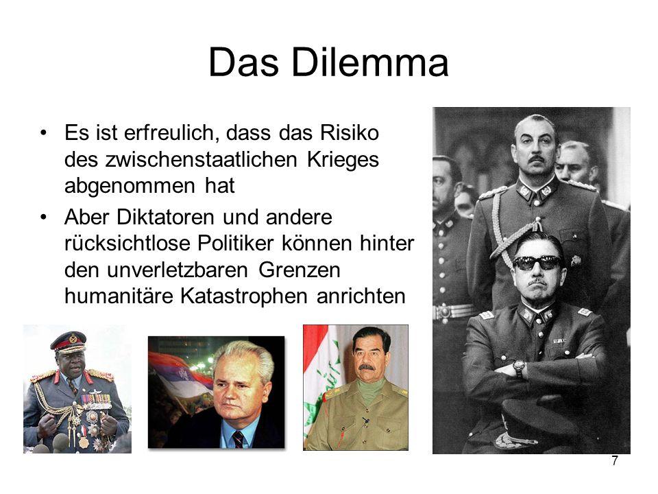 Das Dilemma Es ist erfreulich, dass das Risiko des zwischenstaatlichen Krieges abgenommen hat.