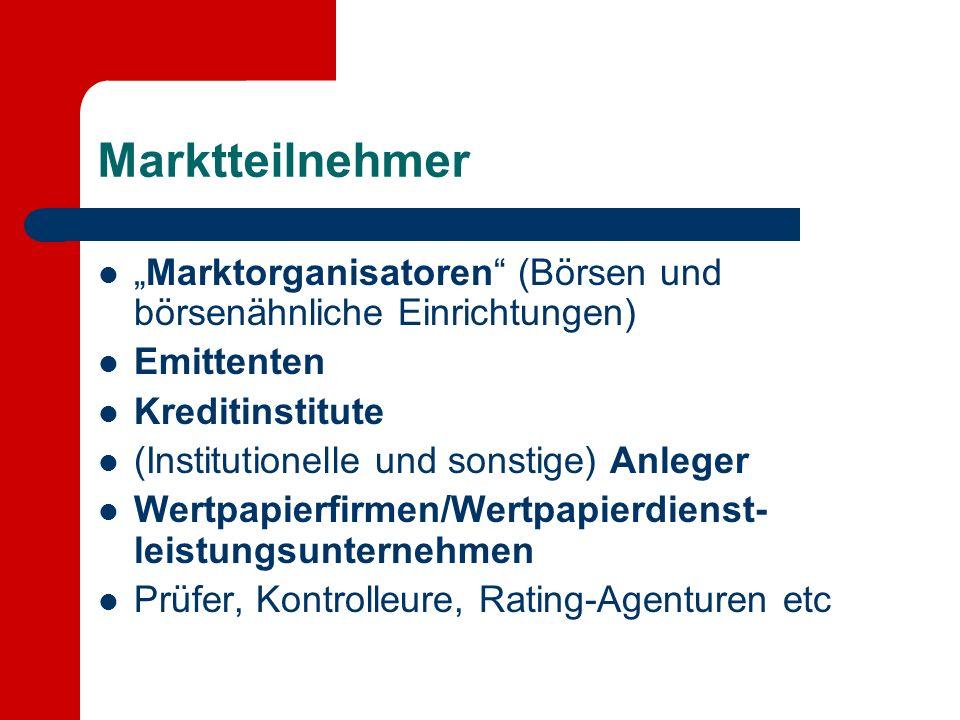 """Marktteilnehmer """"Marktorganisatoren (Börsen und börsenähnliche Einrichtungen) Emittenten. Kreditinstitute."""