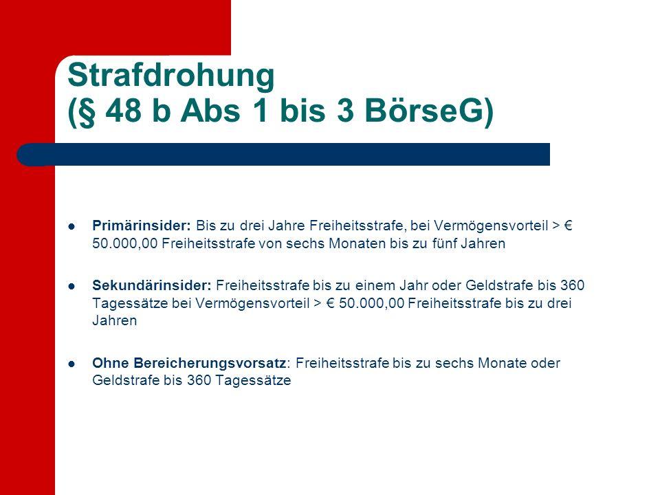 Strafdrohung (§ 48 b Abs 1 bis 3 BörseG)