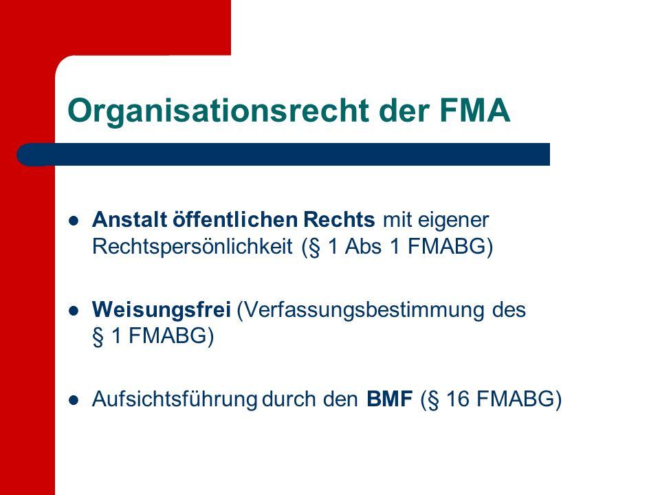Organisationsrecht der FMA