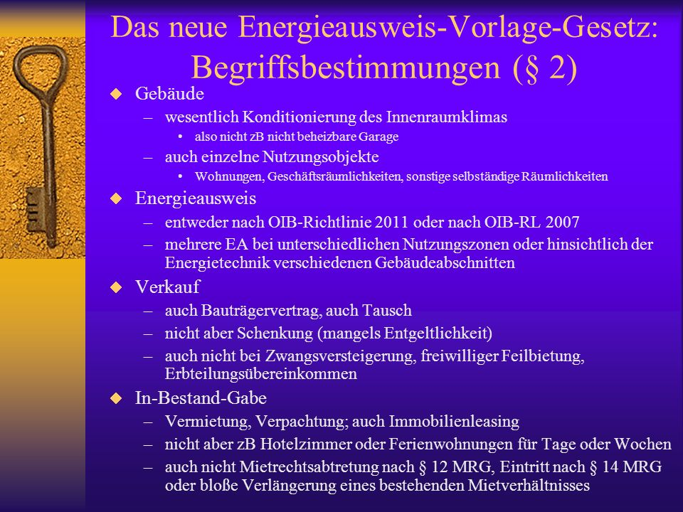 Das neue Energieausweis-Vorlage-Gesetz: Begriffsbestimmungen (§ 2)