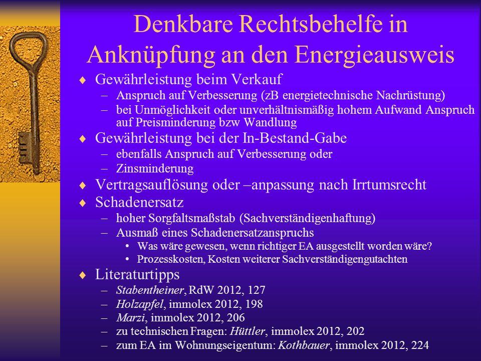Denkbare Rechtsbehelfe in Anknüpfung an den Energieausweis