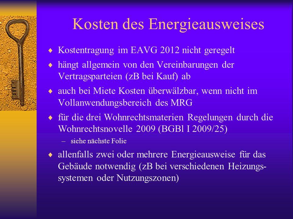 Kosten des Energieausweises