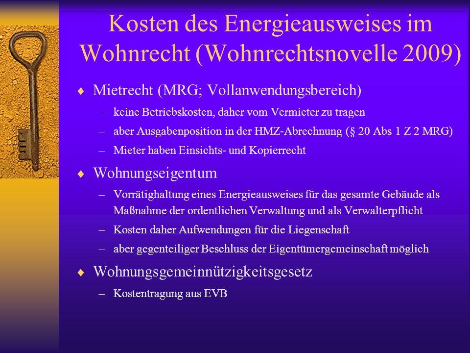Kosten des Energieausweises im Wohnrecht (Wohnrechtsnovelle 2009)