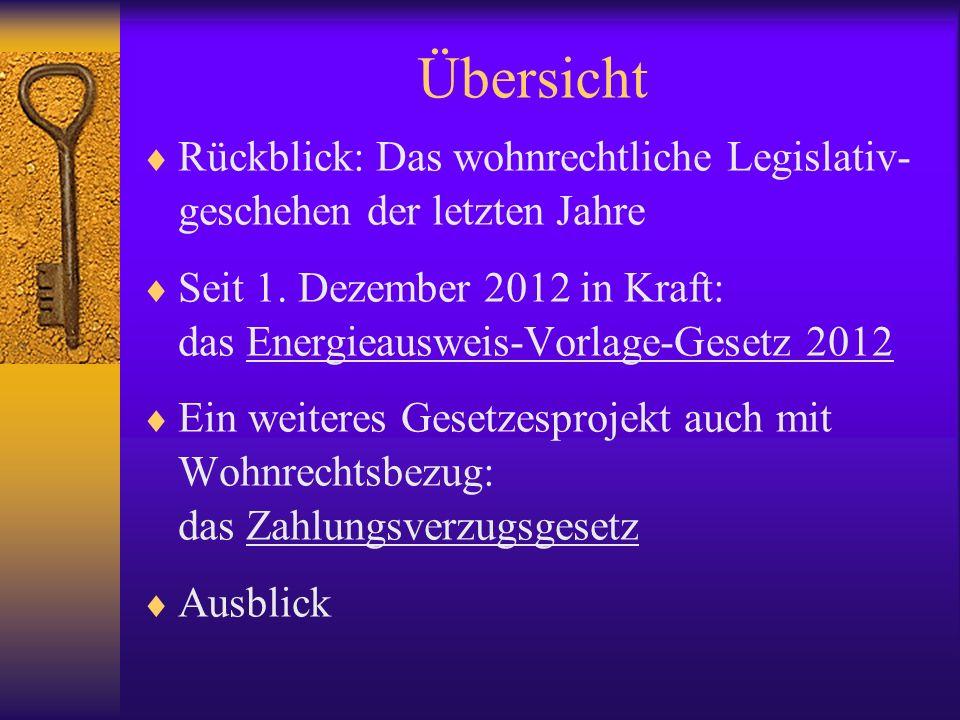 Übersicht Rückblick: Das wohnrechtliche Legislativ-geschehen der letzten Jahre.