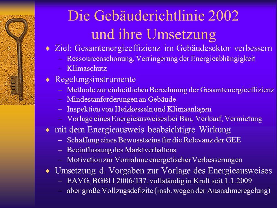 Die Gebäuderichtlinie 2002 und ihre Umsetzung