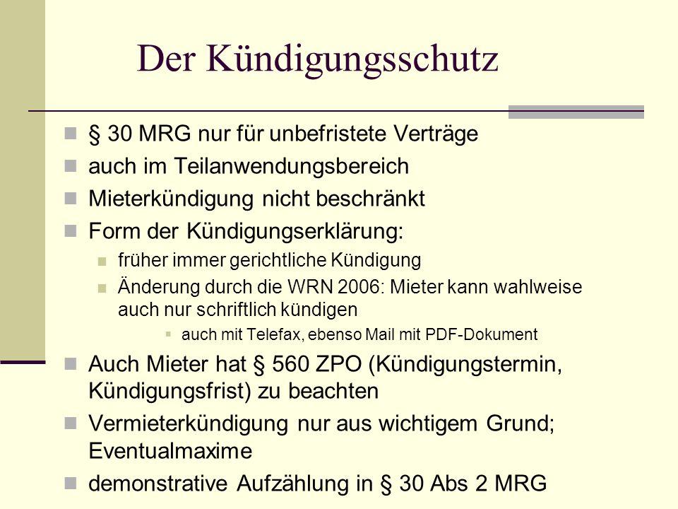 Der Kündigungsschutz § 30 MRG nur für unbefristete Verträge