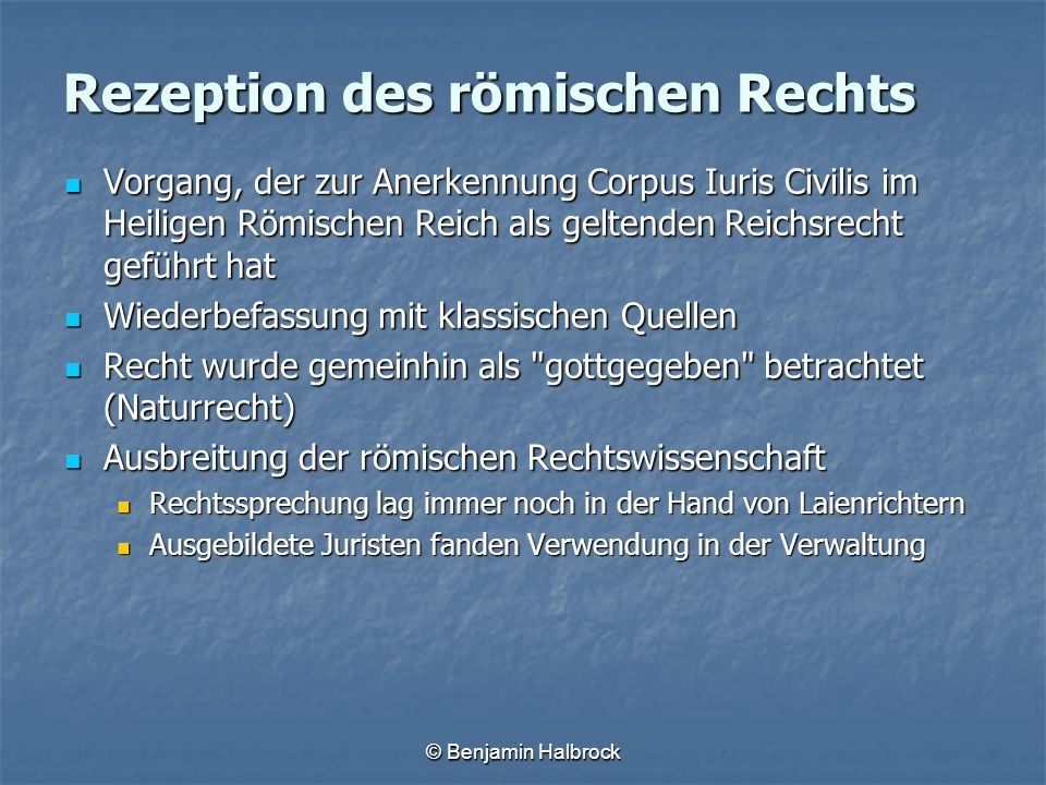 Rezeption des römischen Rechts
