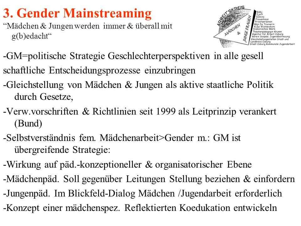 3. Gender Mainstreaming Mädchen & Jungen werden immer & überall mit g(b)edacht