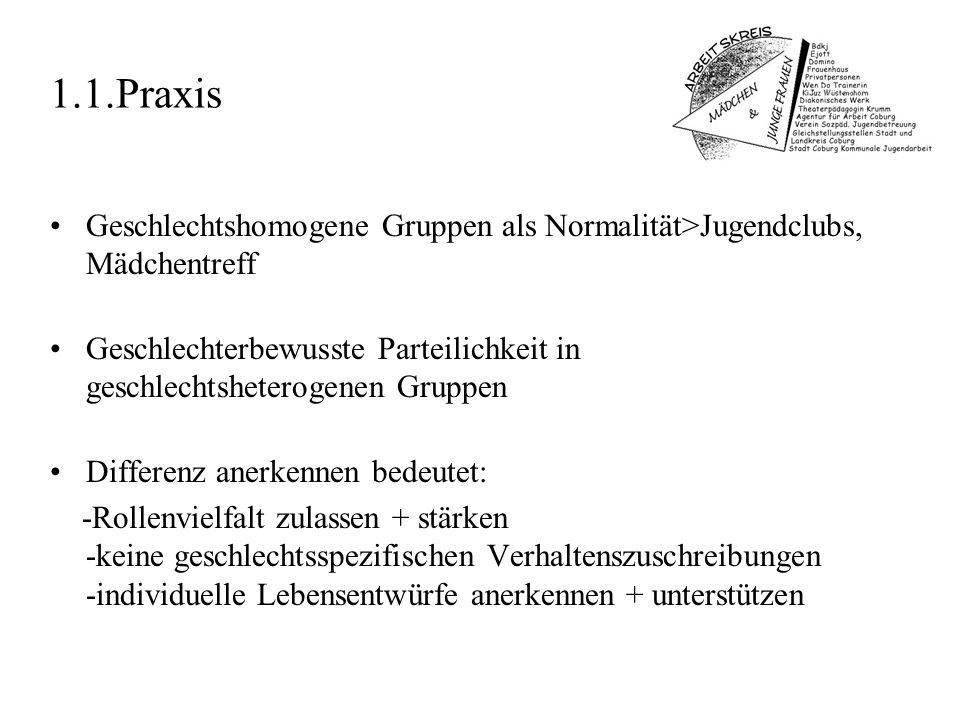 1.1.Praxis Geschlechtshomogene Gruppen als Normalität>Jugendclubs, Mädchentreff.