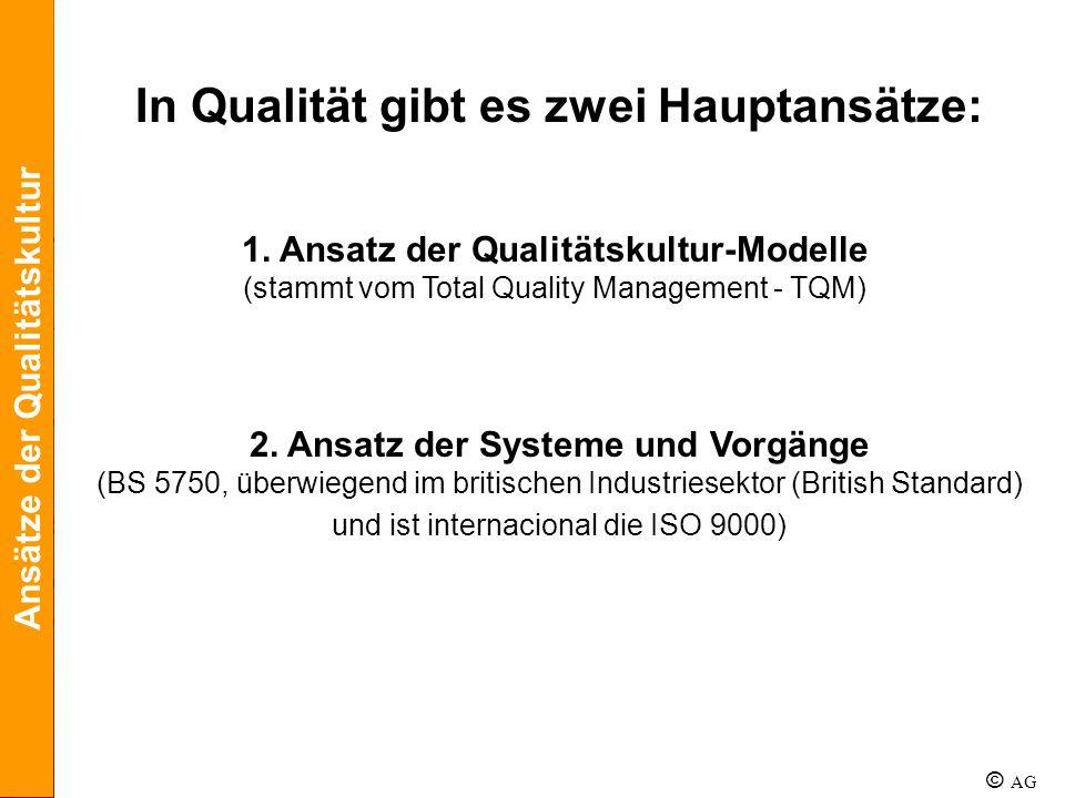 In Qualität gibt es zwei Hauptansätze: