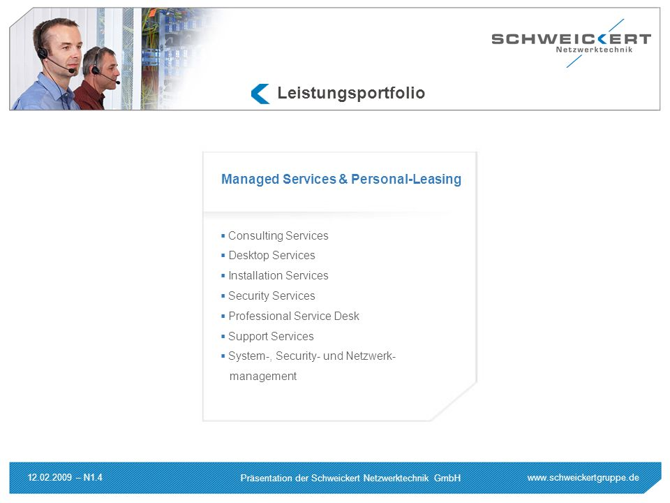 Leistungsportfolio Managed Services & Personal-Leasing