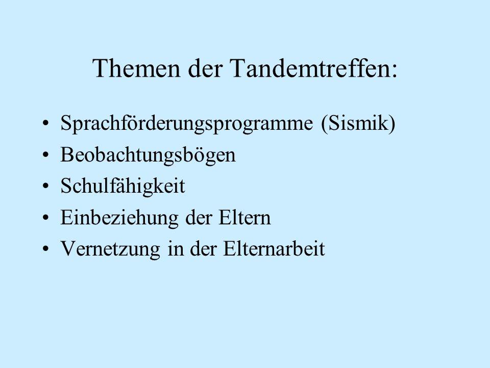 Themen der Tandemtreffen: