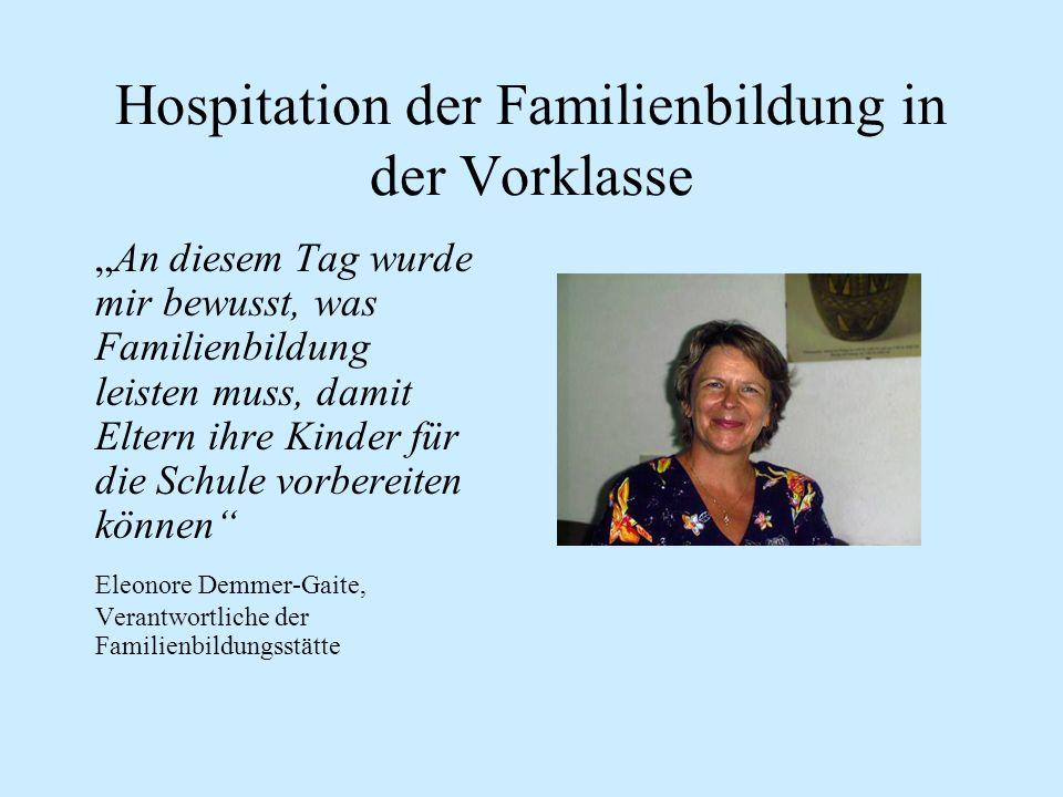 Hospitation der Familienbildung in der Vorklasse