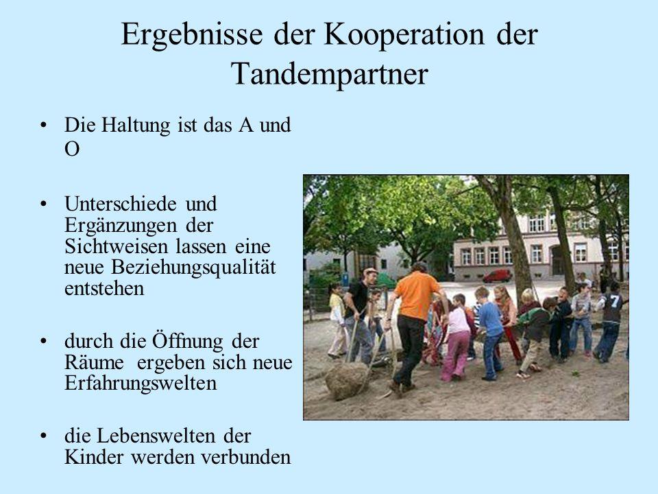Ergebnisse der Kooperation der Tandempartner