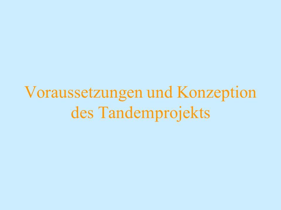 Voraussetzungen und Konzeption des Tandemprojekts