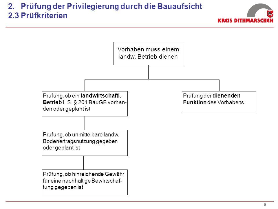 2. Prüfung der Privilegierung durch die Bauaufsicht 2.3 Prüfkriterien