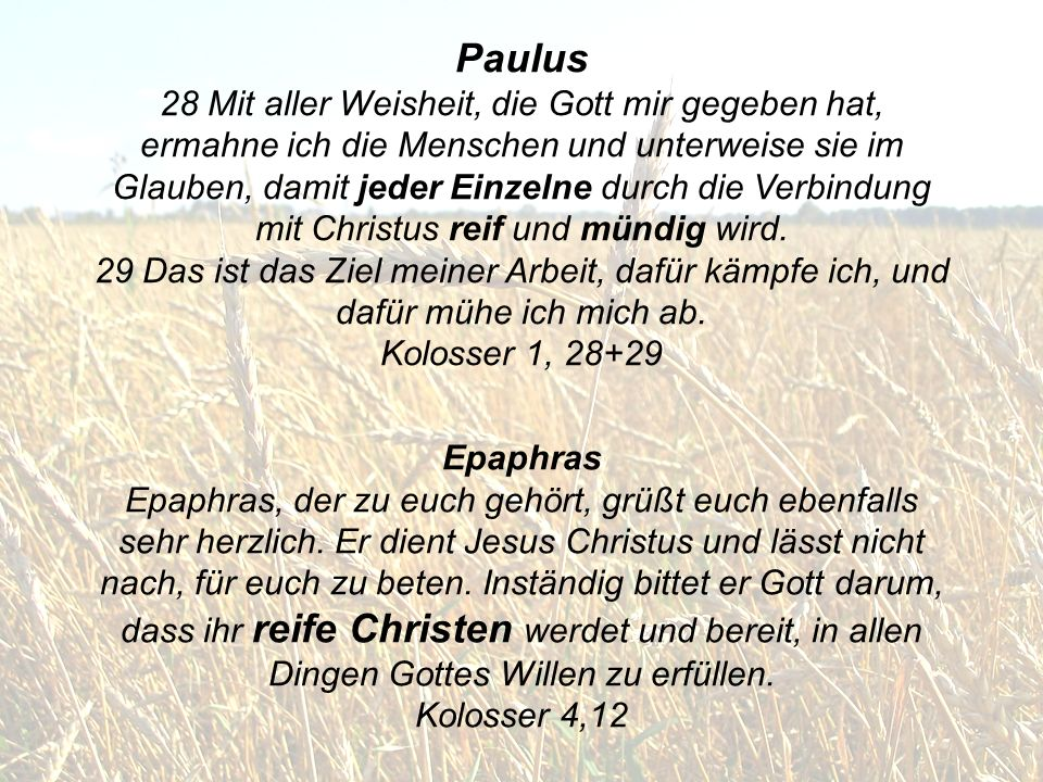 Paulus 28 Mit aller Weisheit, die Gott mir gegeben hat, ermahne ich die Menschen und unterweise sie im Glauben, damit jeder Einzelne durch die Verbindung mit Christus reif und mündig wird. 29 Das ist das Ziel meiner Arbeit, dafür kämpfe ich, und dafür mühe ich mich ab. Kolosser 1, 28+29