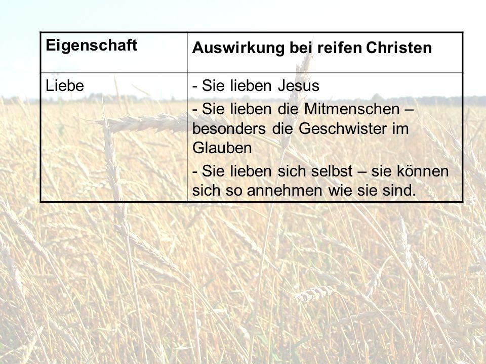 Eigenschaft Auswirkung bei reifen Christen. Liebe. - Sie lieben Jesus. - Sie lieben die Mitmenschen –besonders die Geschwister im Glauben.