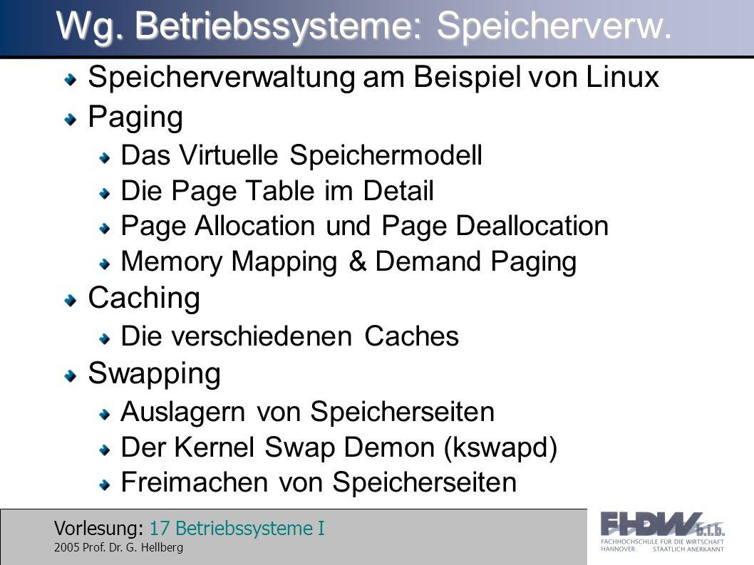 Wg. Betriebssysteme: Speicherverw.