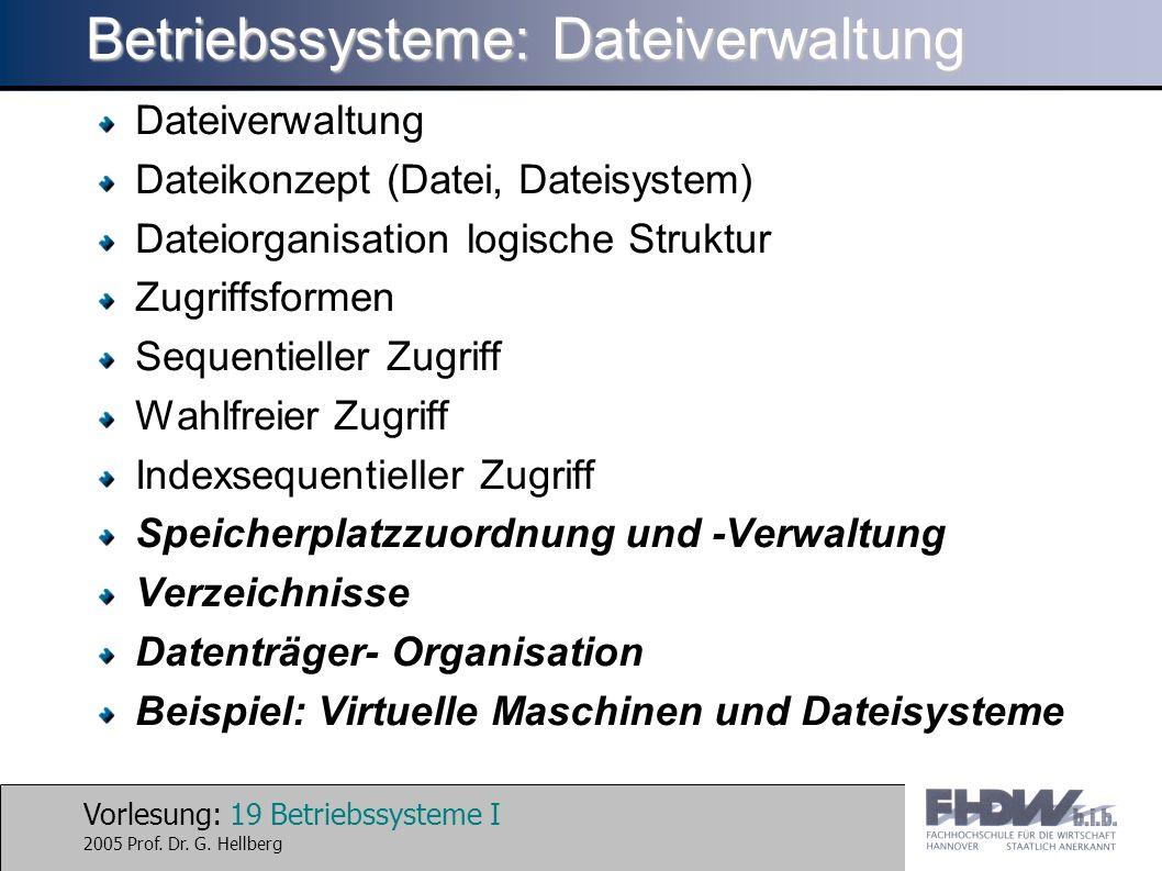 Betriebssysteme: Dateiverwaltung