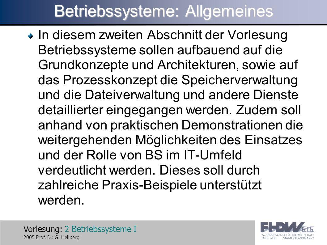 Betriebssysteme: Allgemeines
