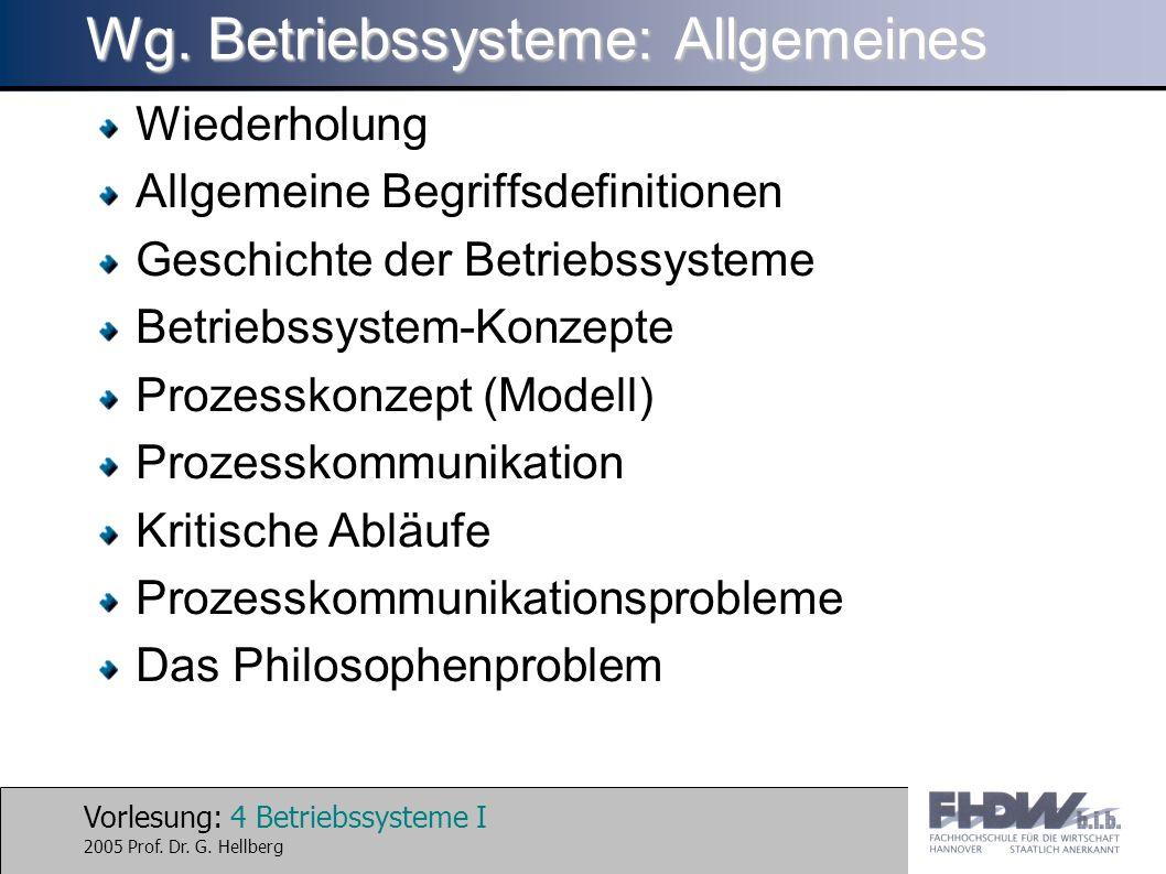 Wg. Betriebssysteme: Allgemeines