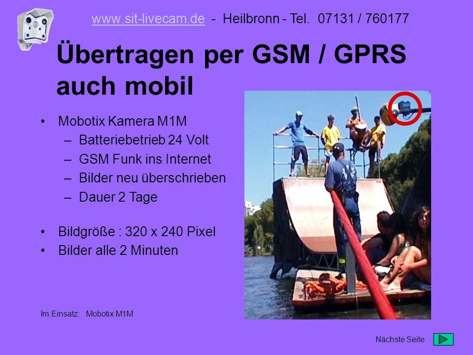 Übertragen per GSM / GPRS auch mobil