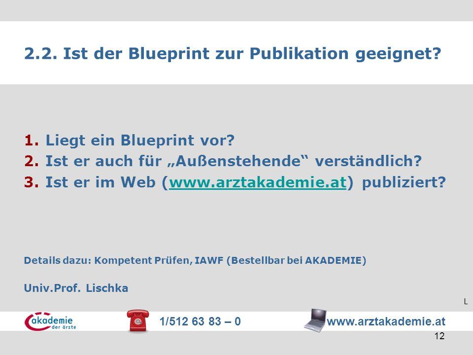 2.2. Ist der Blueprint zur Publikation geeignet