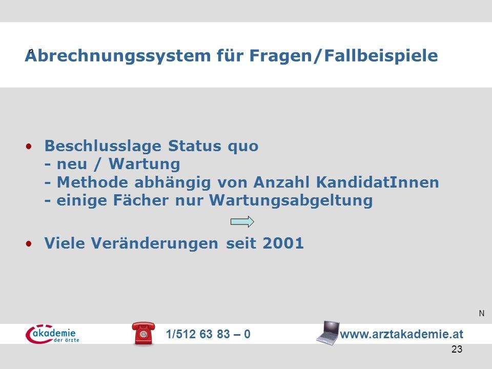 Abrechnungssystem für Fragen/Fallbeispiele