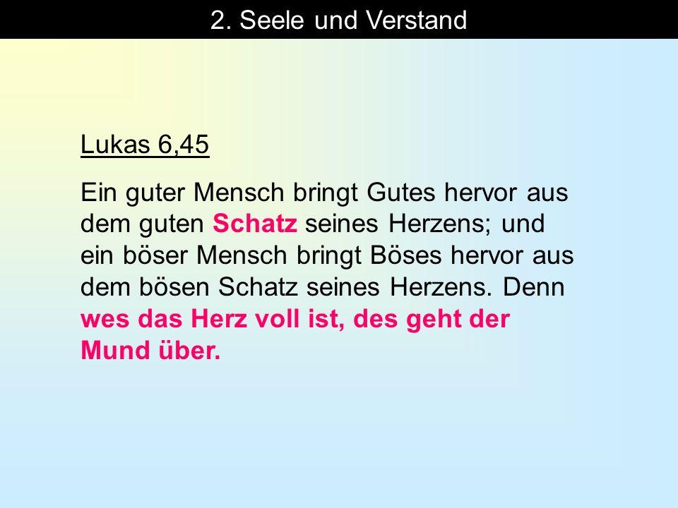 2. Seele und Verstand Lukas 6,45.