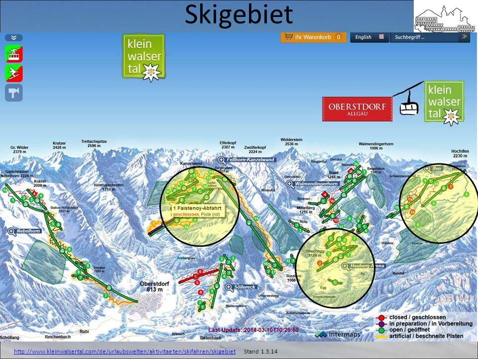Skigebiet Heuberg Arena Kanzelwand Walmendinger Horn
