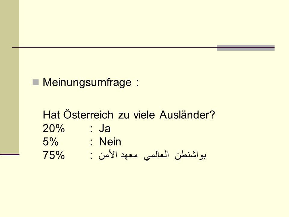 Meinungsumfrage : Hat Österreich zu viele Ausländer.