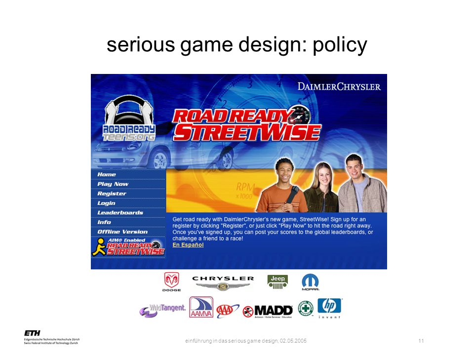 serious game design: policy