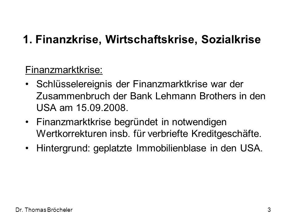 1. Finanzkrise, Wirtschaftskrise, Sozialkrise
