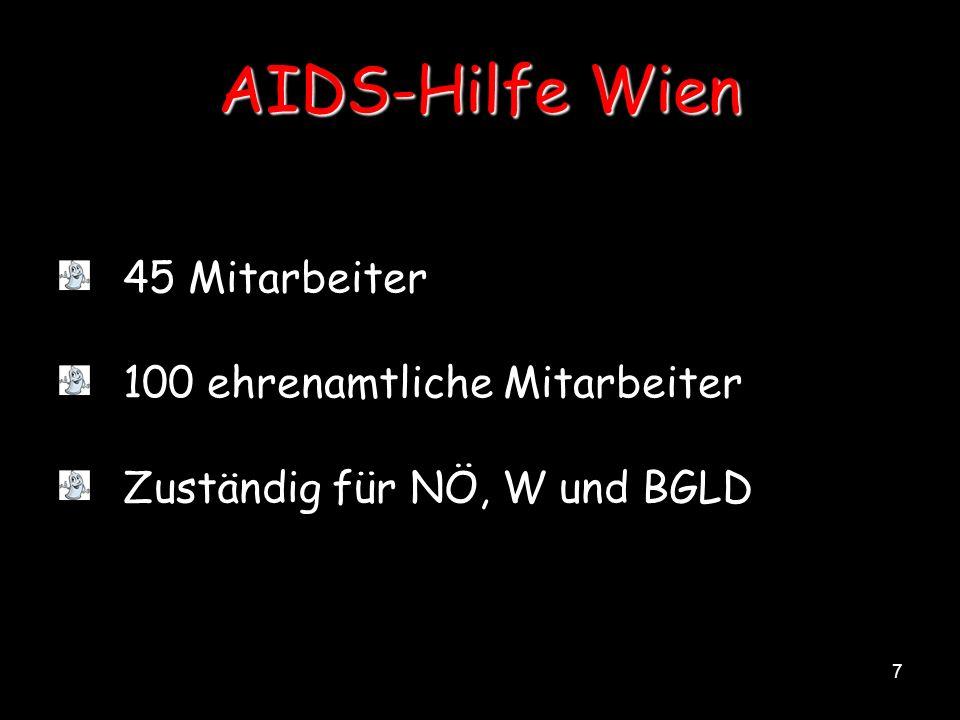 AIDS-Hilfe Wien 45 Mitarbeiter 100 ehrenamtliche Mitarbeiter
